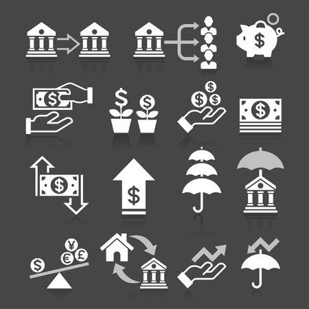 signo pesos: Iconos de negocios concepto de banca establecen.