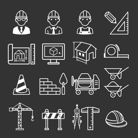 entwurf: Bau-LKW-Icon-Set. Vektor-Illustrationen.