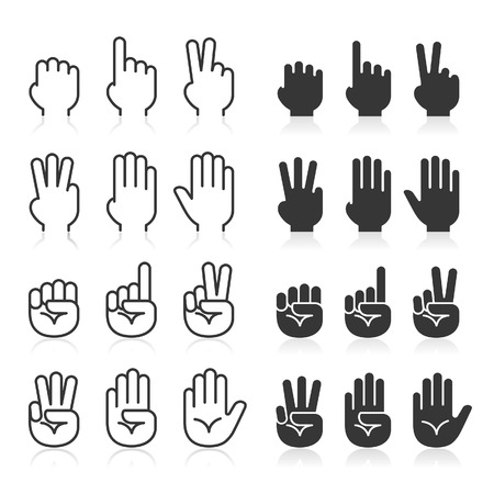 numbers icon: Hand gestures line icons set. Vector illustrations.