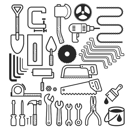 mattock: Architecture and construction tool icons set. Vector illustrations. Illustration