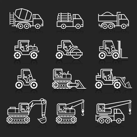 dumper: Construction truck icon set. Vector illustrations.
