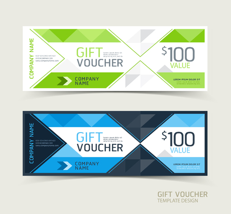 Gift voucher design template. Vector illustrations.