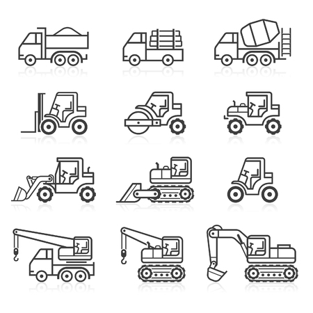 maquinaria pesada: Icono de carro de la construcción fija. Ilustraciones del vector.