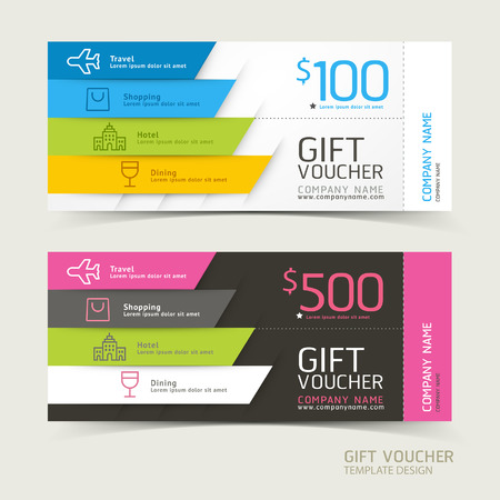 voyage: Chèque cadeau modèle de conception. Illustrations vectorielles.