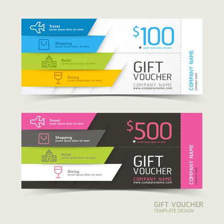 travels: Gift voucher design template. Vector illustrations.