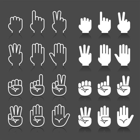 Hand gestures line icons set. Vector illustrations Çizim