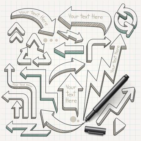 flecha: Dibuja flechas garabatos mano. Ilustración del vector. Vectores