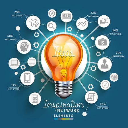 Luz plantilla bulbo concepto Ideas. Puede ser utilizado para el diseño del flujo de trabajo, bandera, diagrama, diseño web, plantilla infografía. Foto de archivo - 45984160
