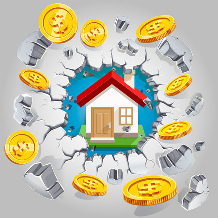 ruined house: House and gold dollar coin breaking through the concrete wall background. Vector illustration. Illustration