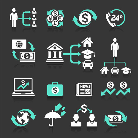 banking concept: Business banking concept icons set. Vector illustrations.