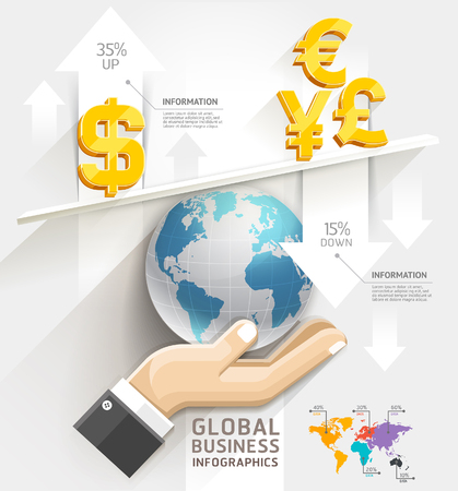 Global business scale Infographics template. Vector illustration. can be used for workflow layout, banner, diagram, number options, web design.