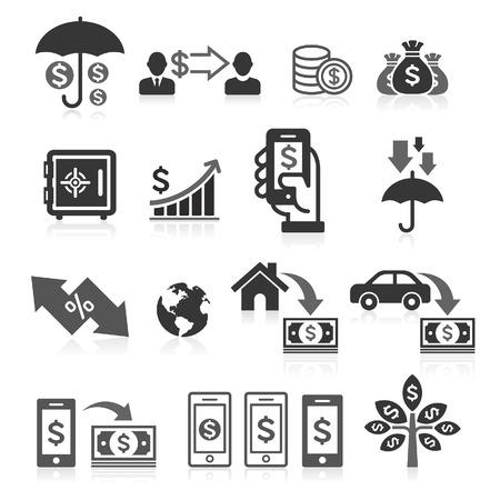 Conjunto de iconos de concepto de banca de negocios. Ilustraciones vectoriales