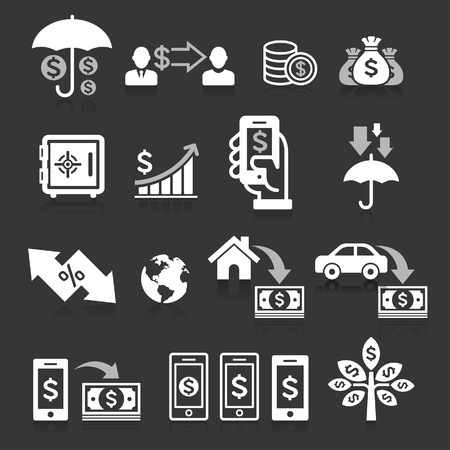 tree service business: Business banking concept icons set. Vector illustrations.
