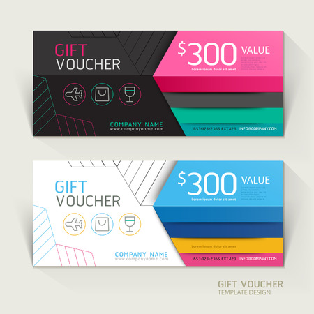 design template: Gift voucher design template. Vector illustrations.