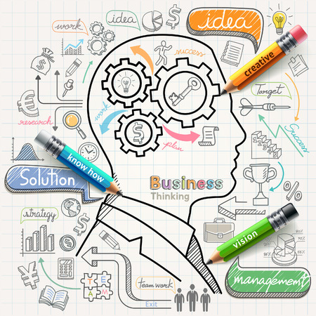 innovación: El hombre de negocios pensando doodles concepto iconos conjunto. Ilustración del vector.