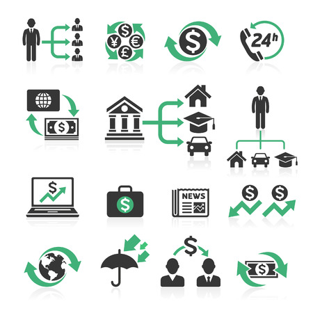 Commercio concetto bancario icone set. Illustrazioni vettoriali. Archivio Fotografico - 45984320
