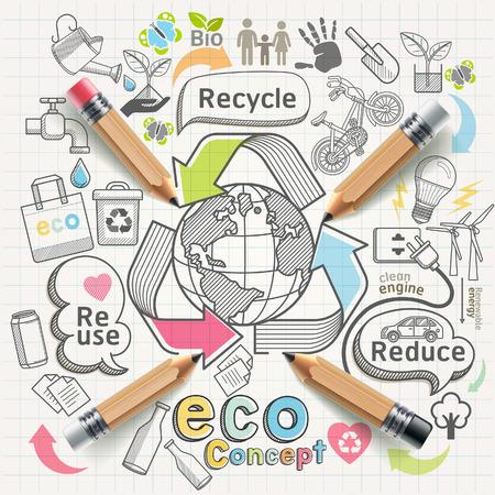 reciclaje papel: Eco concepto pensando doodles iconos conjunto.