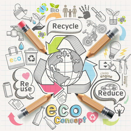 erziehung: Eco-Konzept denken doodles Icons gesetzt. Illustration