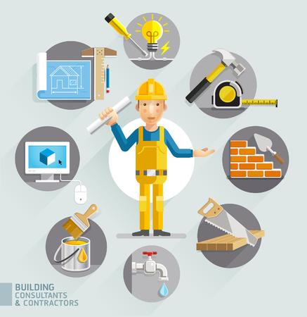 Budowanie konsultantów i wykonawców. Ilustracje wektorowe