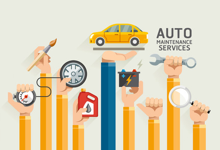tire shop: Auto Maintenance Services. Illustrations.