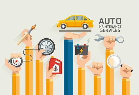 mecanico automotriz: Servicios de mantenimiento de automóviles. Ilustraciones.