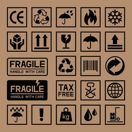Carton Kartondoos Icons. illustratie. Stock Illustratie