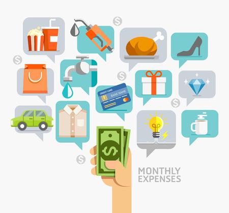Los gastos mensuales de estilo plano conceptual. ilustración. Puede ser utilizado para la plantilla de diseño de flujo de trabajo, diagrama, opciones de número, diseño web, infografía, línea de tiempo.