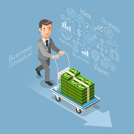 signo pesos: Conceptual de negocios estilo plano isométrico. Hombre de negocios empujando un carrito con dinero en efectivo. ilustración. Vectores