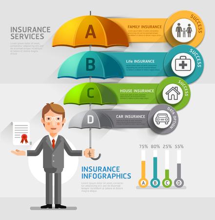 ビジネス保険サービス概念。ビジネスの男性が傘を保持しています。イラスト。ワークフローのレイアウト、図、番号のオプション、web デザイン、