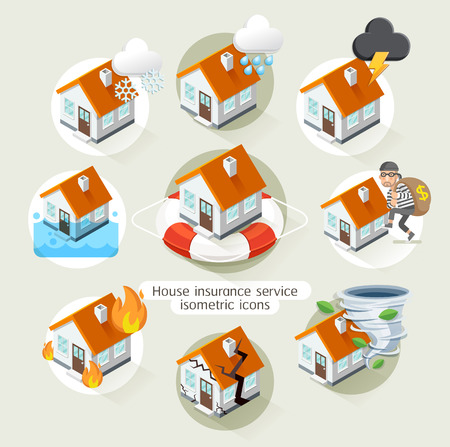 flood: House insurance business service isometric icons template. illustration. Can be used for workflow layout,  diagram, number options, web design, timeline, infographics.
