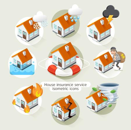 brandweer cartoon: Verzekering van het huis business service isometrisch icons sjabloon. illustratie. Kan gebruikt worden voor workflow lay-out, diagram, aantal opties, webdesign, tijdlijn, infographics. Stock Illustratie