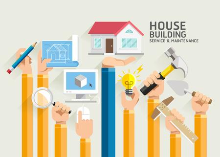 mantenimiento: Casa Servicio de generación y mantenimiento. Ilustraciones. Vectores