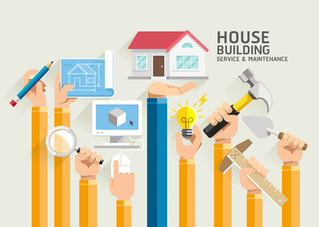 HOUSES: House Building Service and Maintenance. Illustrations.