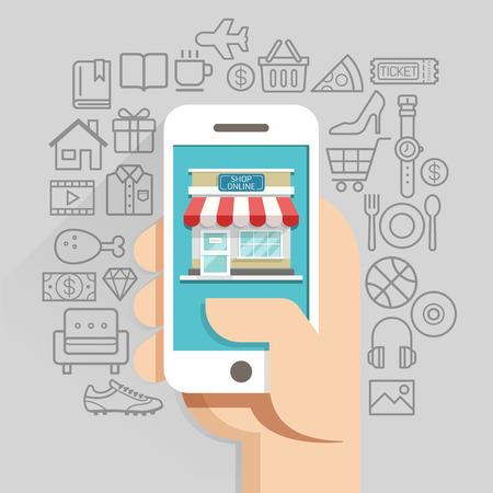 ショッピングのオンライン ビジネス概念フラット スタイル。イラスト。ワークフローのレイアウト テンプレート、図、番号のオプション、web デザイン、インフォ グラフィック、タイムラインに使用できます。