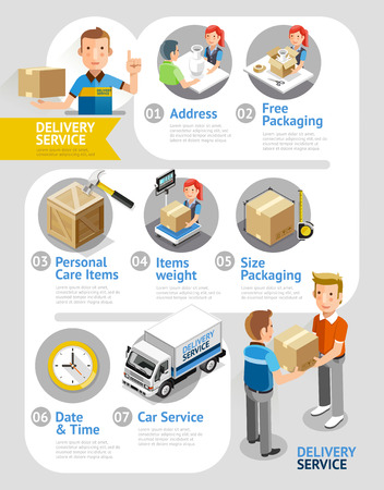 parcel service: Delivery Service Conceptual Isometric Flat Style. Illustration. Can Be Used For Workflow Layout Template,  Diagram, Number Options, Web Design, Infographics, Timeline. Illustration