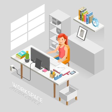 El trabajo isométrico Espacio Plano Estilo. La gente de negocios trabajando en un escritorio de oficina. Ilustración. Ilustración de vector
