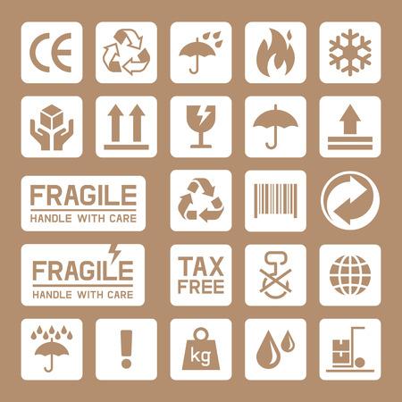 boite carton: Carton Boîte en carton icônes. illustration. Illustration