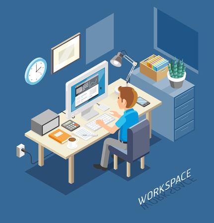 El trabajo isométrico Espacio Plano Estilo. La gente de negocios trabajando en un escritorio de oficina. Ilustración.