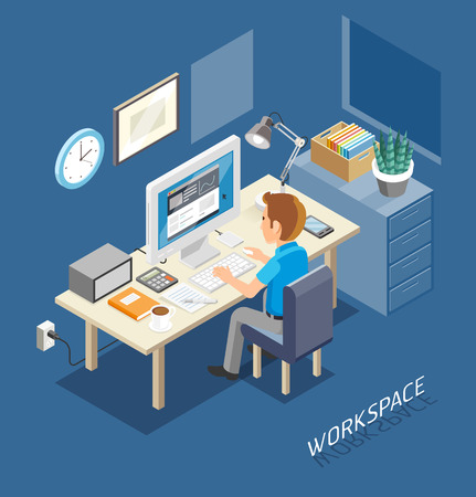 Work Space Isometric Flat Style. Business People Working On An Office Desk. Illustration. Иллюстрация