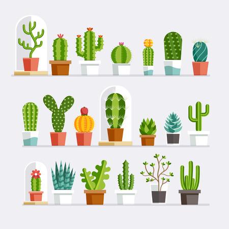 Cactus vlakke stijl. illustratie. Stock Illustratie