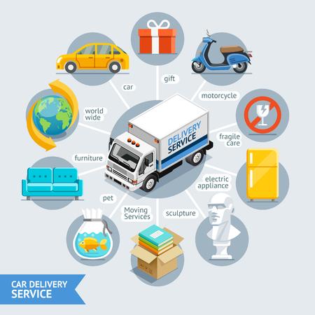 車配信サービス概念等尺性フラット スタイル。イラスト。ワークフロー レイアウト テンプレート、図番号オプション、Web デザイン、インフォ グラ