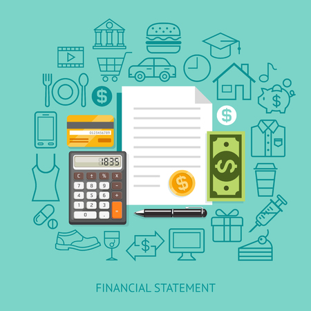 home expenses: Financial Statement Conceptual Flat Style. Illustration. Can Be Used For Workflow Layout Template,  Diagram, Number Options, Web Design, Infographics, Timeline. Illustration