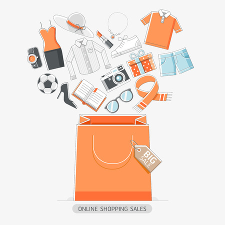customer: Online shopping stores conceptual line icons style. illustration.