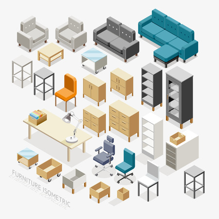 home office interior: Furniture Isometric icons. Illustration. Illustration