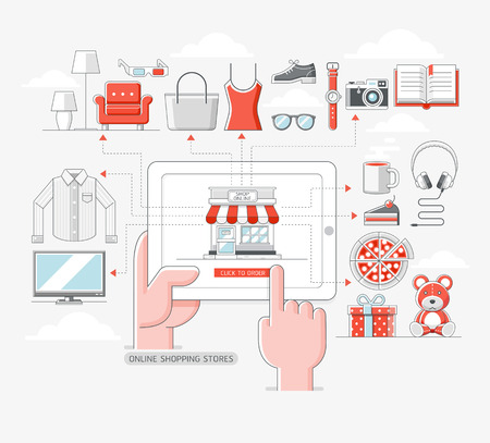 electronic background: Online shopping stores concept. illustration.