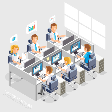 Work Space Isometric Flat Style. Business People Working On An Office Desk. Illustration. Vettoriali