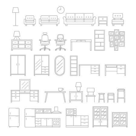 line: Furniture line icons style. illustration.