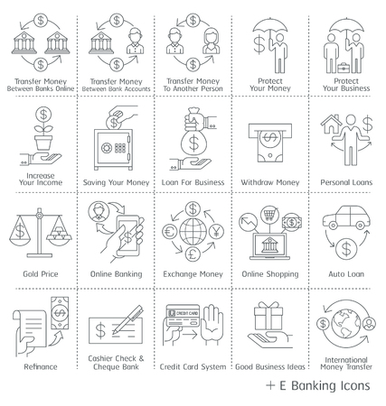 refinance: Banking service Icons. Illustrations.
