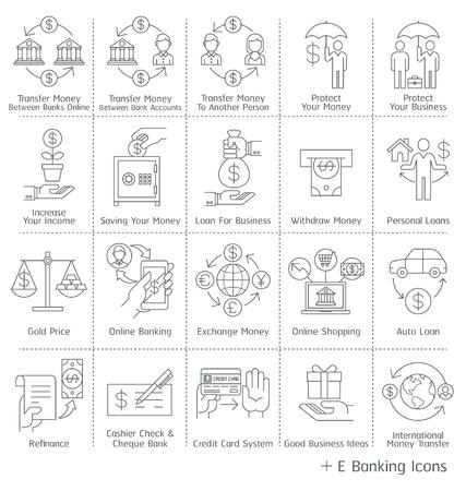 circulo de personas: Iconos servicio bancario. Ilustraciones.