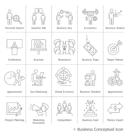 internet marketing: Business management conceptual icons. thin line style.